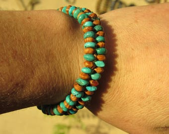 Turquoise and Bayong Wood Memory Wire Bracelet for Confidence