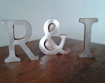 Chocolate Letters & Numbers, Metallic silver, Golden, Rusty or Painted effect.