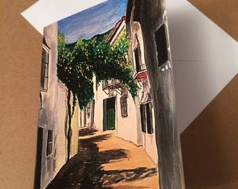 Andalusian street A6 Blank Greeting Card - taken from acrylic painting