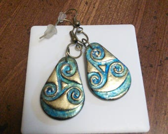 Celtic Swirl in Gold...Antique, Polymer Clay Dangle and Drop Jewelry...Looks Like Metal...Creative...Gift... Teardrop