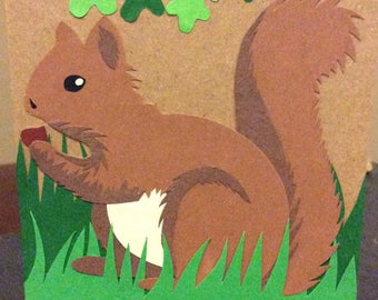 Woodland squirrel with hazelnut card