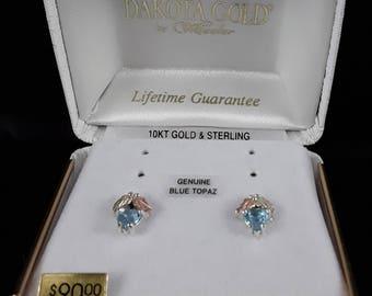 Dakota Black Hills Gold Blue Topaz Stud Earrings