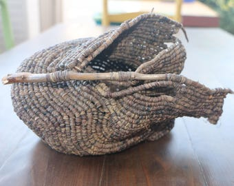 Handmade Coiled Raffia Basket with Buck's Lake Drift Branches