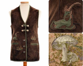 Suede leather hunting / folk WAISTCOAT from Austria / womens size D 40, M medium / brown / ibex and mushroom design