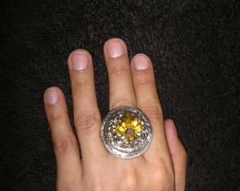 Ring Inca Style with Citrine Stone
