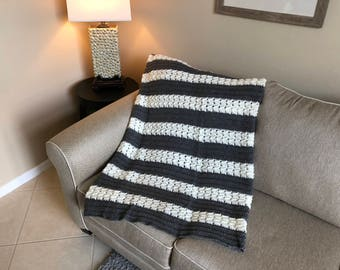 Gray & White Herringbone Pattern Afghan