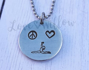 Hand Stamped Gymnast Necklace/Gymnastics Necklace/Peace Love Gymnastics Necklace