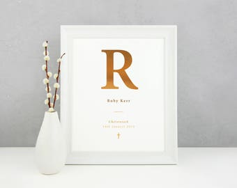 Personalised Christening Letter - Hand Crafted Foil Print