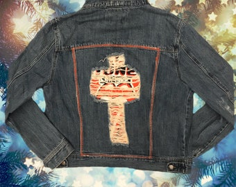 Peek-a-boo Rolling Stones Denim Jacket with Patch
