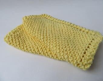 Knit Dishcloths, Set of 2- Yellow, Handmade in Texas