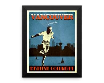Vancouver Canada | Vintage Travel Poster | Framed (Blue)
