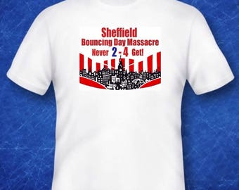 SUFC Tshirt bouncing day massacre never 2 4 get football Sheffield United memorabilia
