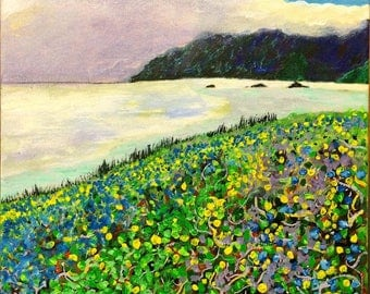 "Acrylic Landscape Painting - ""Verbena"" (2016) - Acrylic on Canvas, Varnished - Painted at Meyers Beach, Oregon"
