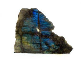 Display Labradorite Crystal, Freeform half-polished, Beautiful Blue and Green Shine