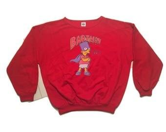 BartMan Bart Simpson Sweatshirt Vintage 90s - Sz XL