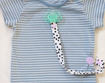 Dummy pacifier clip holder black and white spots
