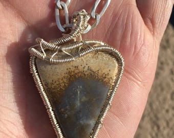 Silver plated wire wrapped stone