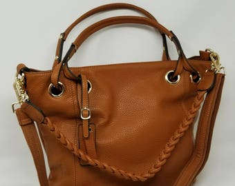 Modern cognac shoulder bag with 3 different straps, fashion handbag, women handbags, shoulder bag, Valentine's day gift