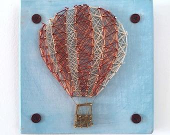 Hot Air Ballon, Eco handmade string art