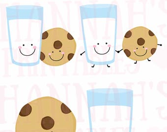 Milk and Cookie Cute Printable Clipart Set Cute