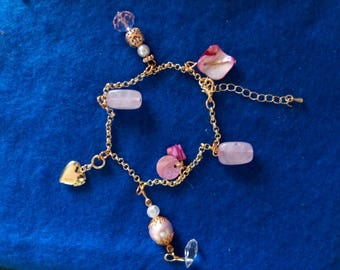 Love Charm Bracelet with Locket Powered by Rose Quartz in Gold