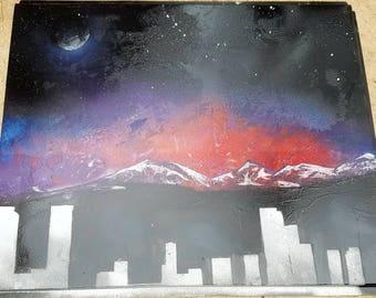 Denver Mountains spray paint art!