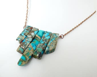 Turquoise Composite 5-Stone Necklace
