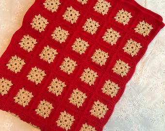 Red & tan hand-made Afghan