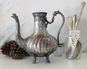 "Antique carafe ""Aiguiere""in silver plated.Water pot.Ewer."