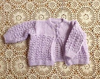 Baby Girls Lilac Knitted Cardigan