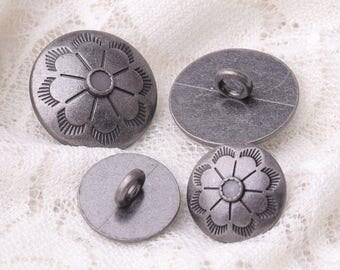 umbrella button fashion light black round zinc alloy button 10pcs 2 sizes 20/15mm