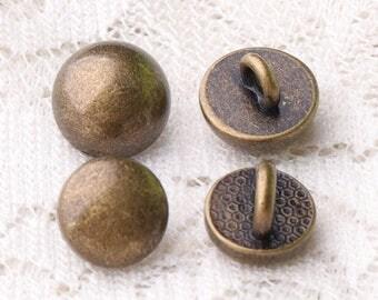 buttons mushroom buttons 10pcs 2 size 9*8/8*7mm bronze buttons shank buttons smooth buttons metal buttons