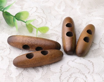 6pcs toggles buttons 2 size 45*13 /50*13mm (l*w) dark brown wood toggles buttons 2 holes sewing wooden toggle buttons for winter coat