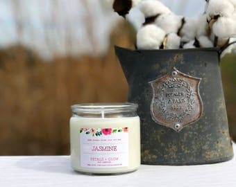 Jasmine Scented Soy Candle, 7 oz Glass Jar, 100% Soy Wax, Gifts For Her