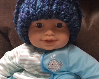 Blue and purple knit baby hat