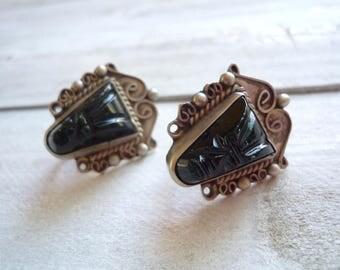 60s vintage earrings, earrings, earrings, face divinelolavinge black and Silver earrings