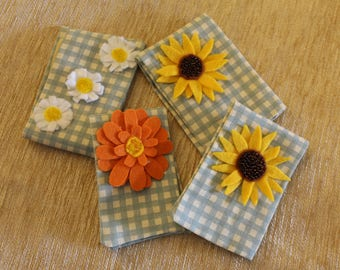 Handmade needlecase with felt flower