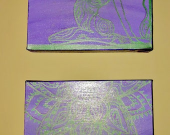 """Namaste, Yoga pose - hand painted in shades of purple & green on 2  stretched canvases, both 8""""x10"""""""