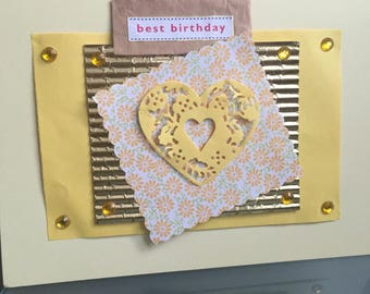Birthday card hand made with floral  gold and hart  embellishment