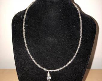 White Gem Beaded Choker Necklace