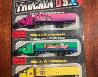 Vintage Racing Champions Truckin USA - Bubblegum Collection Cab w/ Trailer
