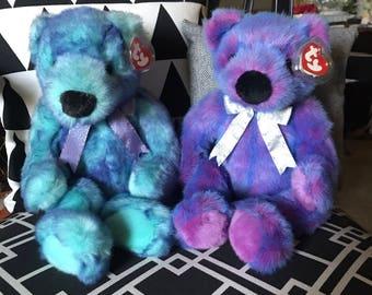 Classic TY Beanie Buddies - Rare - Set of 2 - Purplebeary & Bluebeary (1999)