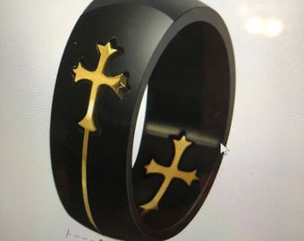 Black men's ring size 6 with gold cross