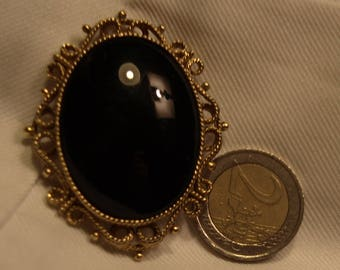 6ct gold black mourning brooch