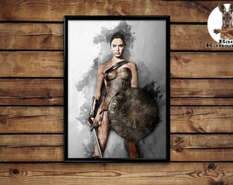 Wonder Woman poster Gal Gadot wall art home decor print