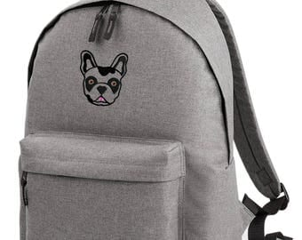 French bulldog embroidered backpack - Choose your frenchie colour!