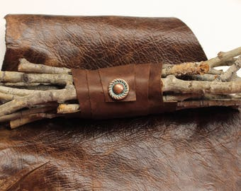 Birch twigs and Leather Wrap