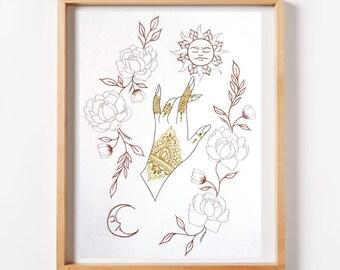 Henna'd Hand Sun and Moon Print - henna, henna print, floral print, sun and moon, copper, silver, metallic, zendoodle, tarot