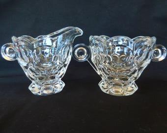 Vintage Heisey Whirlpool Cream and Surgar Set