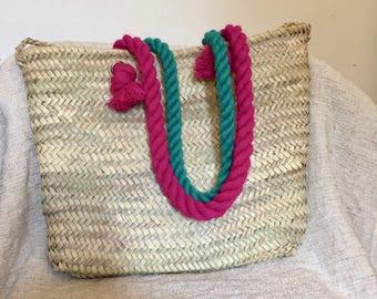 SUN Moroccan hand woven Basket 1 weaving eco friendly meditation organic rope handle beach straw bag large big round tote